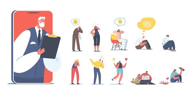 Conjunto de pessoas com problemas psicológicos. personagens femininos masculinos com doença mental precisam da ajuda de um psicólogo, alcoólatra, bipolar, depressão, isolada no fundo branco. ilustração em vetor de desenho animado