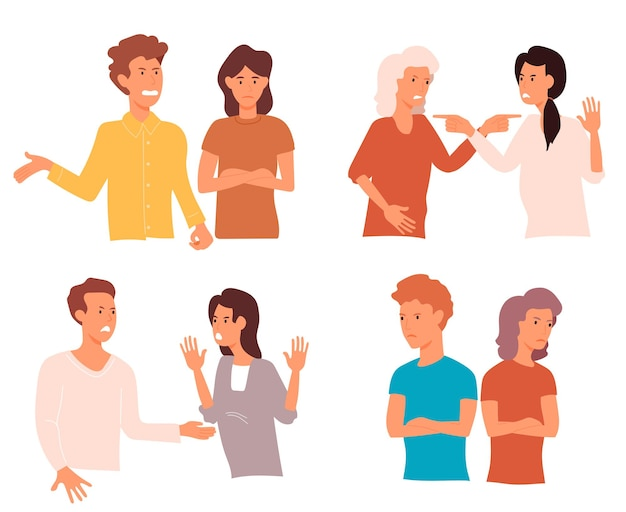 Conjunto de pessoas com raiva. disputa agressiva de homens e mulheres.