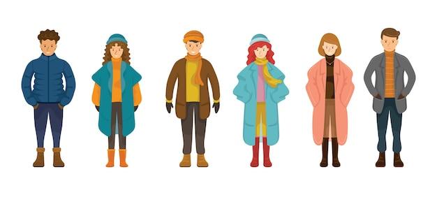 Conjunto de pessoas com roupas de inverno