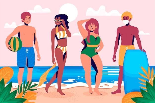 Conjunto de pessoas com roupas de verão