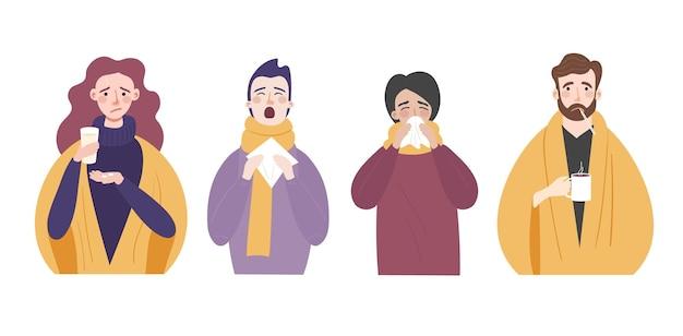 Conjunto de pessoas com sintomas de resfriado ou gripe personagens com coriza, tosse, febre e espirros