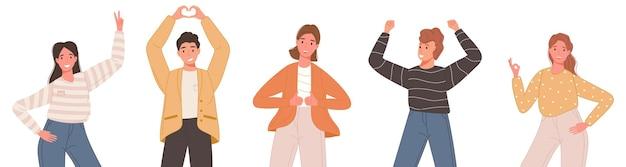 Conjunto de pessoas com sorriso feliz em roupas casuais, mostrando diferentes poses isoladas