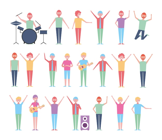 Conjunto de pessoas comemorando com instrumentos