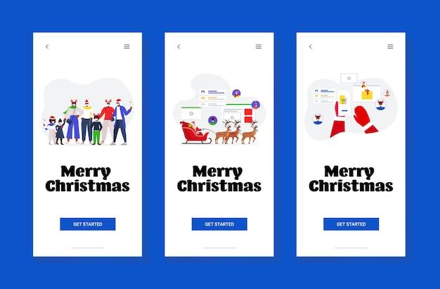 Conjunto de pessoas comemorando feliz ano novo, feliz natal, feriados, conceito, telas de smartphone, banner, coleção,