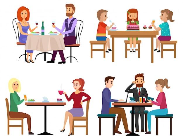 Conjunto de pessoas comendo. acople as crianças e o homem de negócios da família dos amigos que sentam-se no café ou na barra do restaurante isolados. ilustração em vetor dos desenhos animados