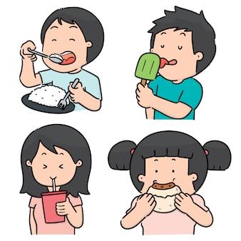 Conjunto de pessoas comendo