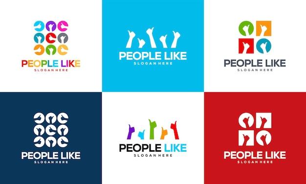 Conjunto de pessoas como vetor de design de modelo de logotipo, emblema, conceito de design, logotipo do polegar de pessoas