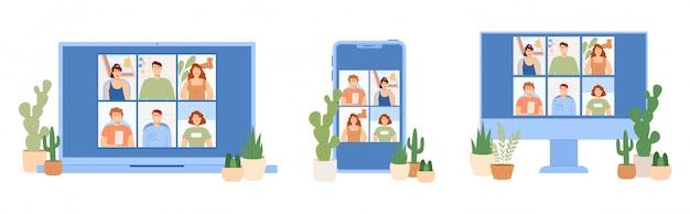 Conjunto de pessoas conversando. bate-papo online em diferentes gadgets. trabalhando em casa.