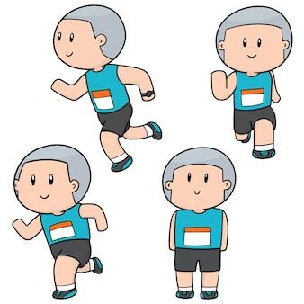 Conjunto de pessoas correndo