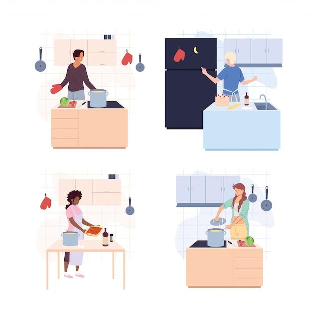 Conjunto de pessoas cozinhando sobre o branco