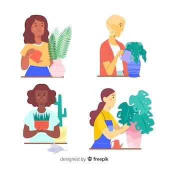 Conjunto de pessoas cuidando de plantas