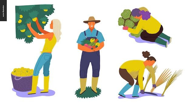 Conjunto de pessoas da colheita