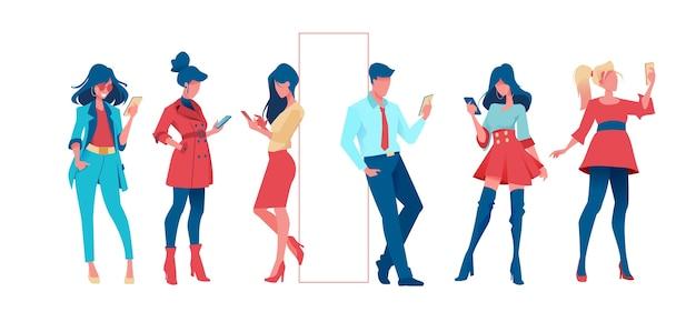 Conjunto de pessoas da moda com o telefone na mão