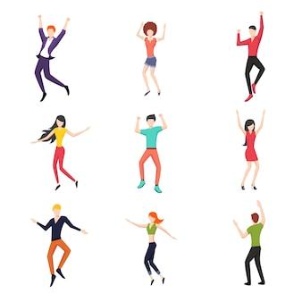 Conjunto de pessoas dançando em estilo simples.