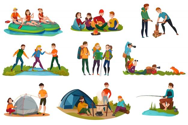 Conjunto de pessoas de acampamento