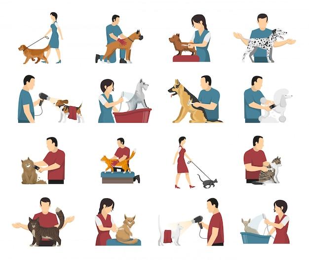 Conjunto de pessoas de cuidados com animais de estimação