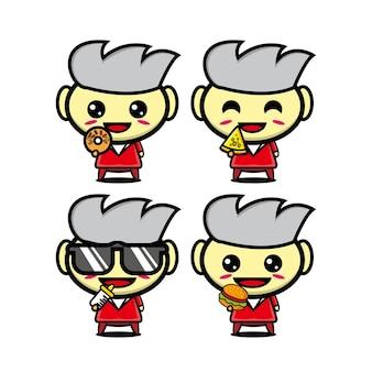 Conjunto de pessoas de desenhos animados de coleção segurando comida personagem de desenho animado estilo plano de ilustração vetorial