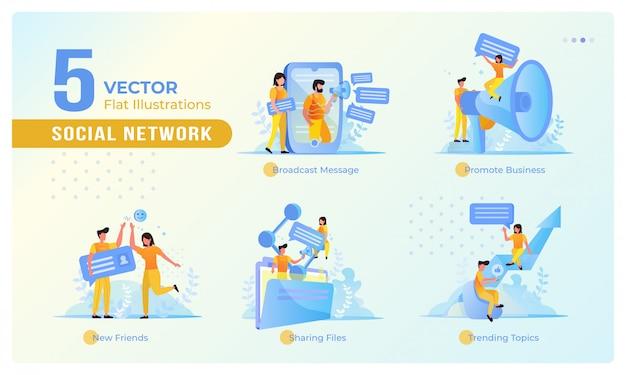 Conjunto de pessoas de design plano no conceito de rede social