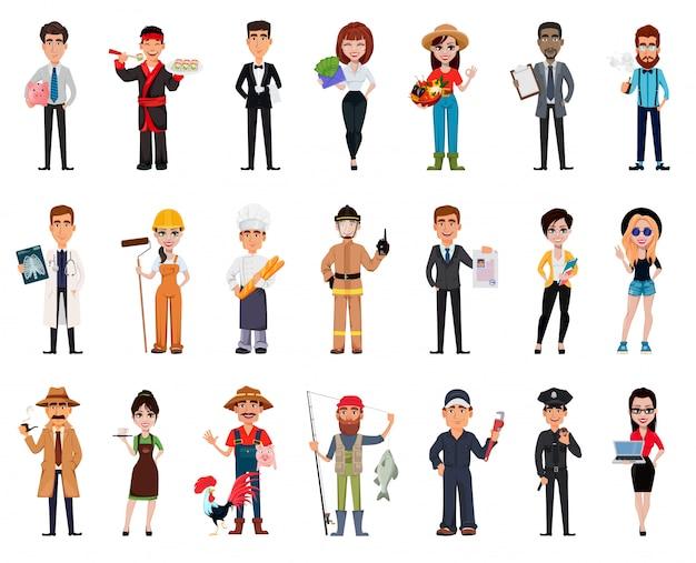 Conjunto de pessoas de diferentes profissões