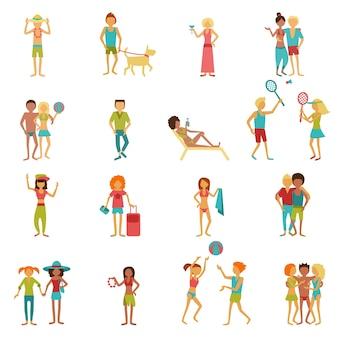 Conjunto de pessoas de férias