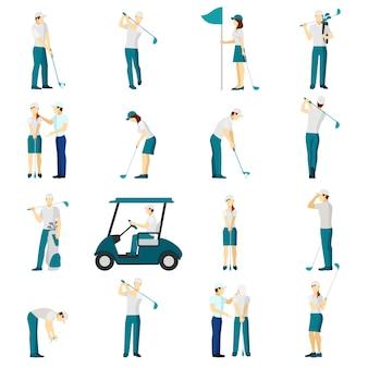 Conjunto de pessoas de golfe plana