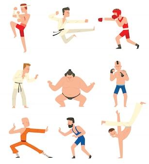 Conjunto de pessoas de lutadores.