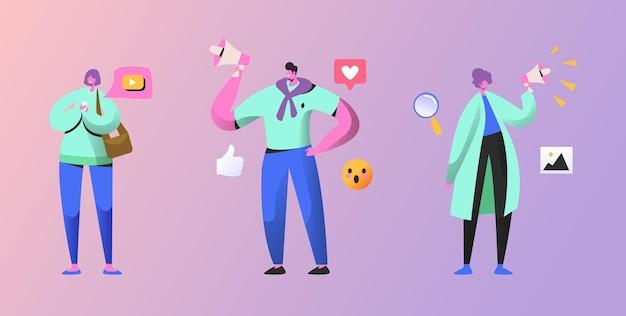 Conjunto de pessoas de marketing social. ilustração plana dos desenhos animados