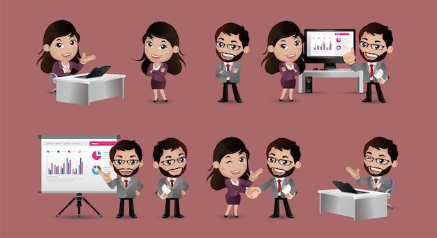 Conjunto de pessoas de negócios acordo de apresentação trabalhar no computador