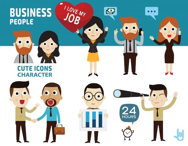 Conjunto de pessoas de negócios diferentes.