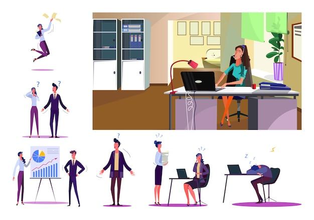 Conjunto de pessoas de negócios durante o trabalho