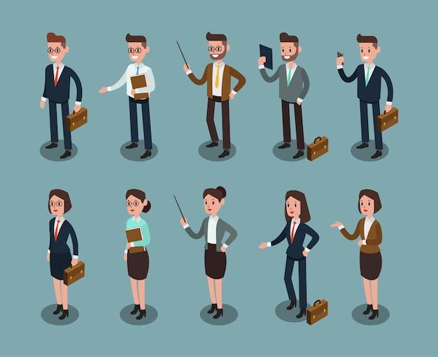 Conjunto de pessoas de negócios isométricas