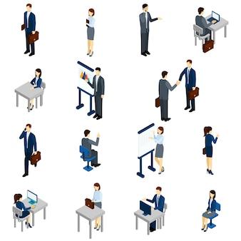 Conjunto de pessoas de negócios isométrico
