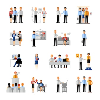 Conjunto de pessoas de negócios no local de trabalho