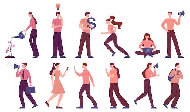 Conjunto de pessoas de negócios. personagens de escritório funcionam. grupo de empresários em smart casual em diferentes poses, com dinheiro e lâmpada.