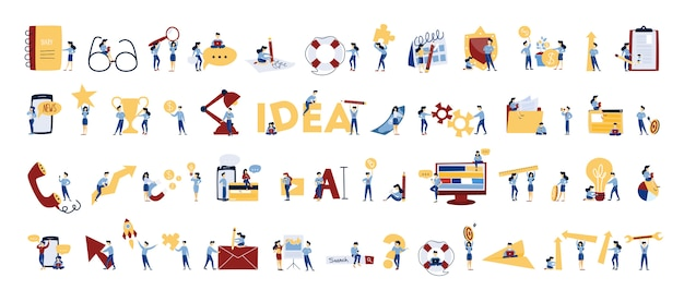 Conjunto de pessoas de negócios. personagens do escritório trabalham em equipe. grupo de empresários de terno em poses diferentes com chave, xadrez e lâmpada. ilustração em vetor isoladas em estilo cartoon