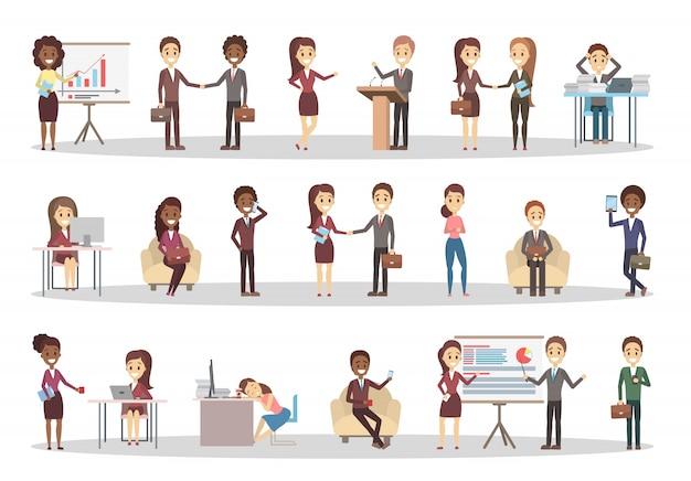 Conjunto de pessoas de negócios. personagens do escritório trabalham em equipe.
