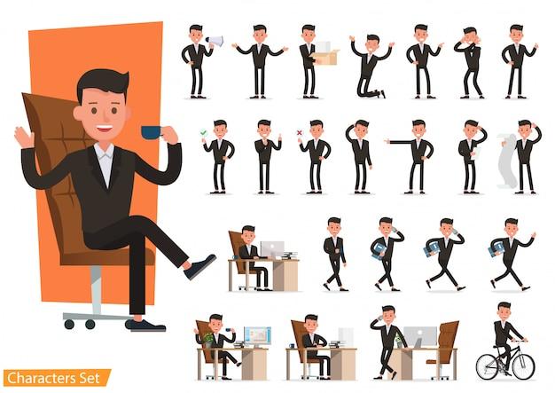 Conjunto de pessoas de negócios usando terno marrom.