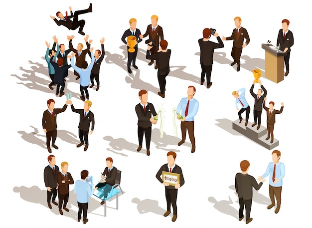 Conjunto de pessoas de negócios vencedor