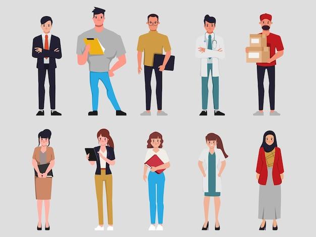 Conjunto de pessoas de personagem de desenho animado plano