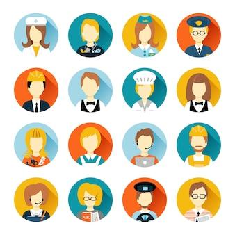 Conjunto de pessoas de profissão colorida ícones de estilo plano em círculos com ilustração vetorial de somas longas