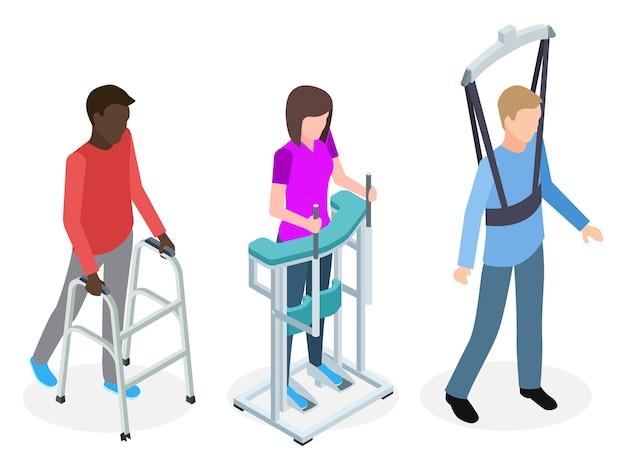 Conjunto de pessoas de reabilitação de pernas