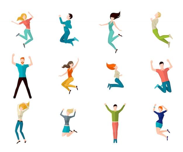 Conjunto de pessoas de salto