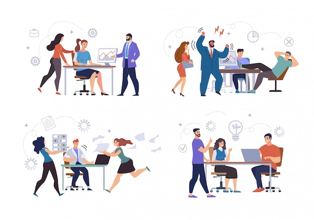 Conjunto de pessoas de situações de trabalho de escritório plana
