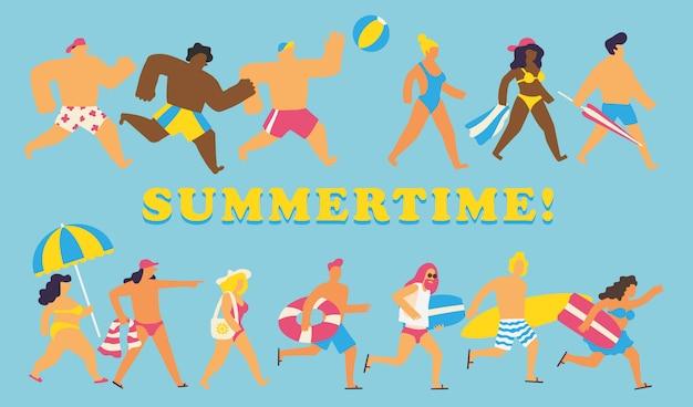 Conjunto de pessoas de verão