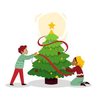 Conjunto de pessoas decorando a árvore de natal