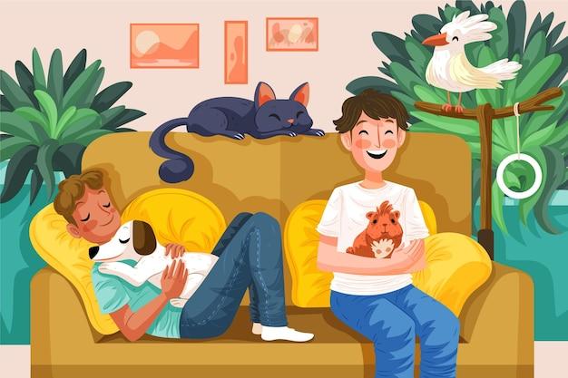 Conjunto de pessoas desenhadas à mão com animais de estimação