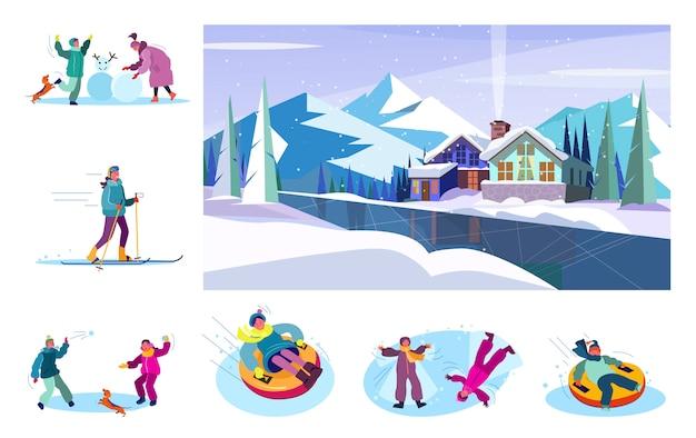 Conjunto de pessoas desfrutando de inverno