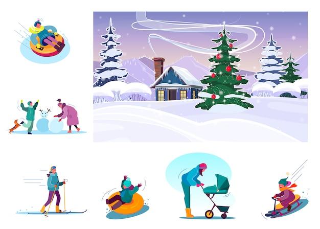 Conjunto de pessoas desfrutando férias de inverno
