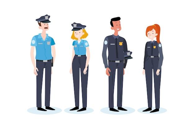 Conjunto de pessoas diferentes da polícia