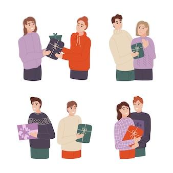 Conjunto de pessoas diferentes dando presentes bonitos